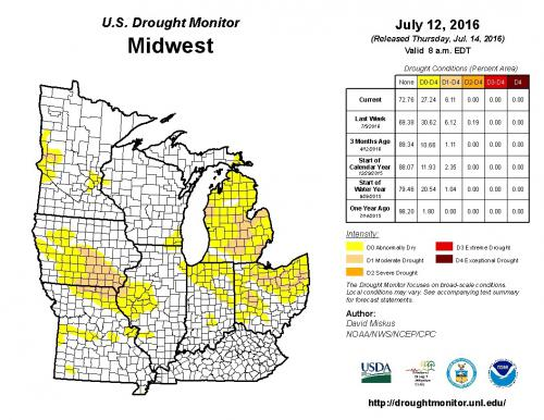 Screenshot of online drought monitor