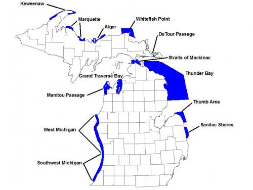 map of 13 underwater preserves in state