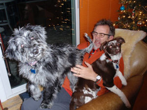 Kirk with two of his dogs