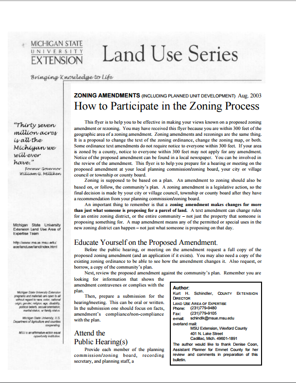 How to Participate in the Zoning Process for Zoning Amendments