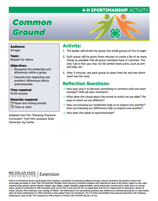 4-H Sportsmanship Activity: Common Ground