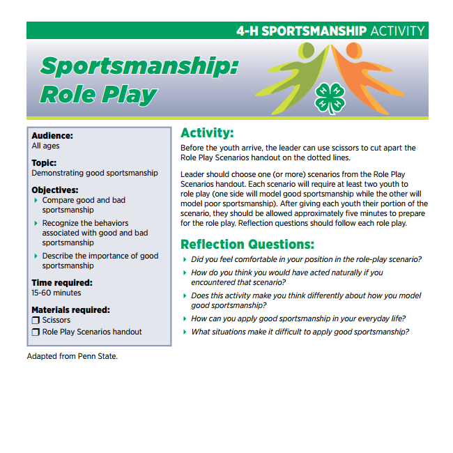 4-H Sportsmanship Activity: Sportsmanship Role Play