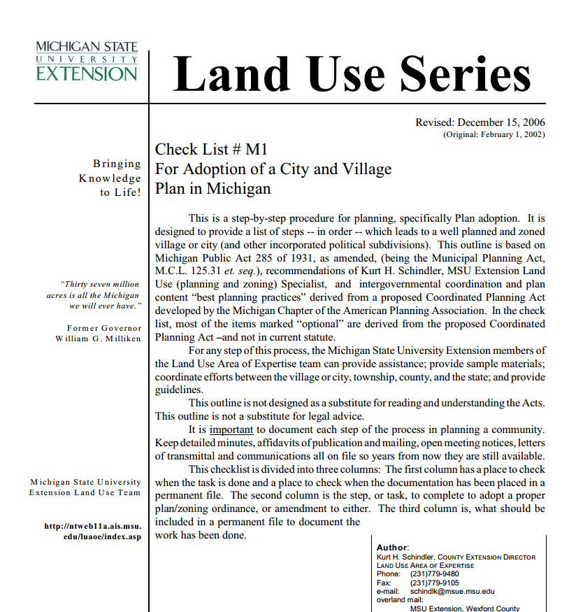 Check List #M1, For Adoption of a City and Village Plan in Michigan