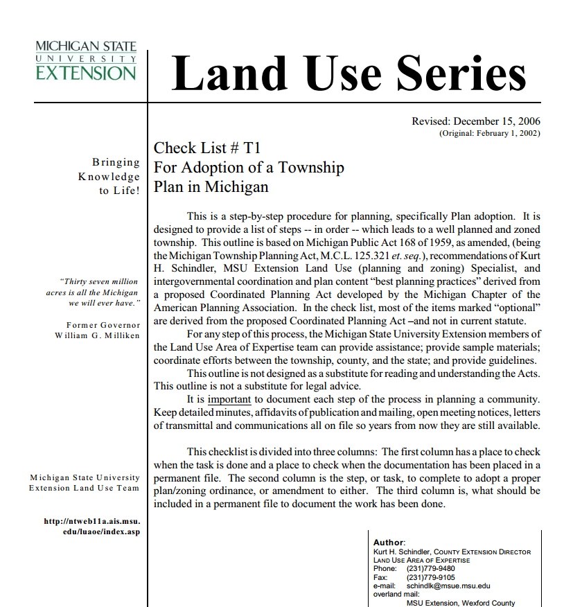 Check List #T1, For Adoption of a Township Plan in Michigan