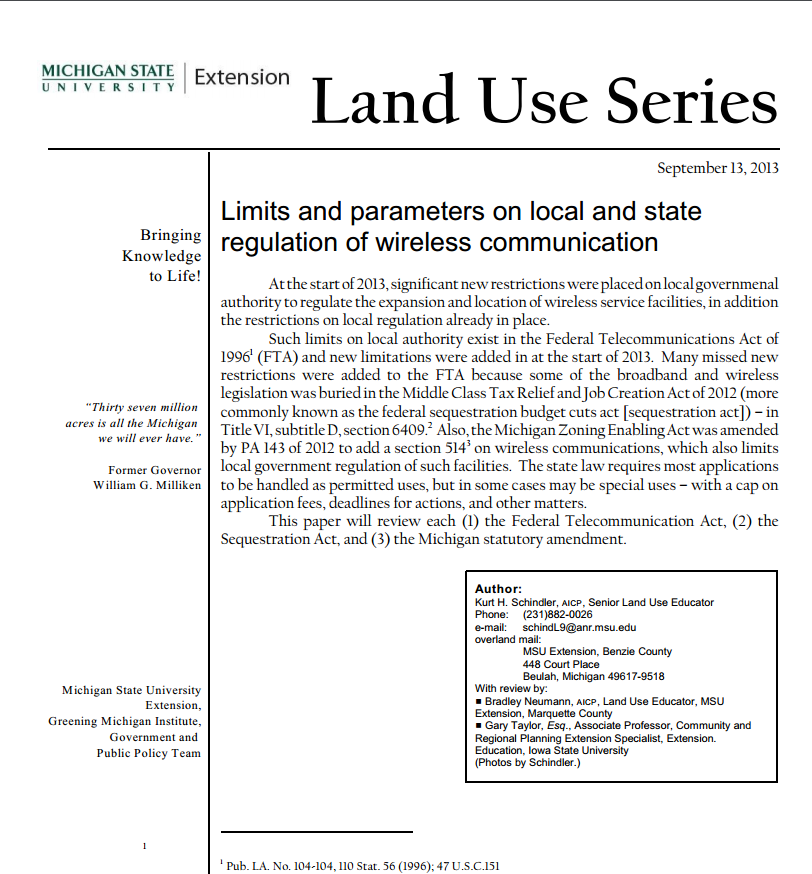 Limits and parameters on local and state regulation of wireless communication