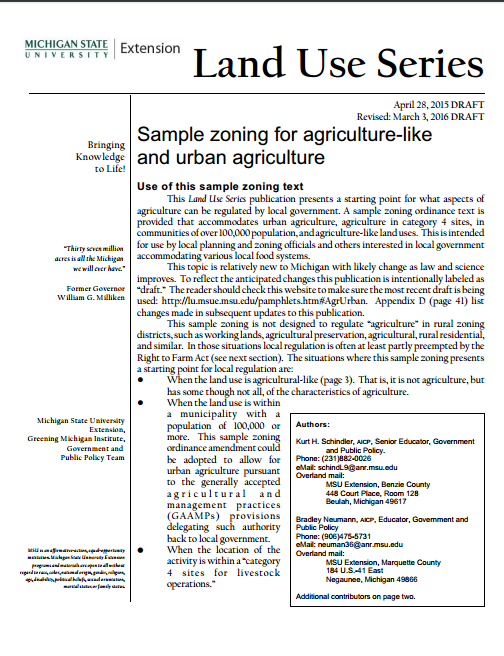 Sample zoning for agriculture-like and urban agriculture