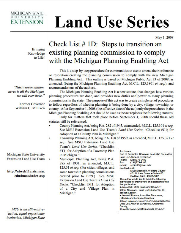 Check List #1D: Steps to transition an existing planning commission to comply with the MPEA