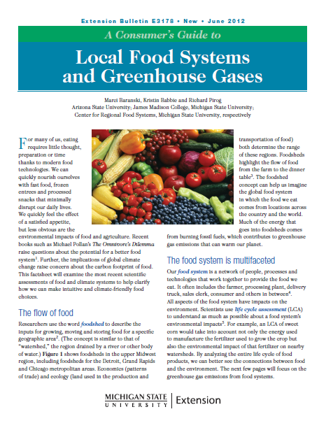 A Consumer's Guide to Local Food Systems and Greenhouse Gases (E3178)