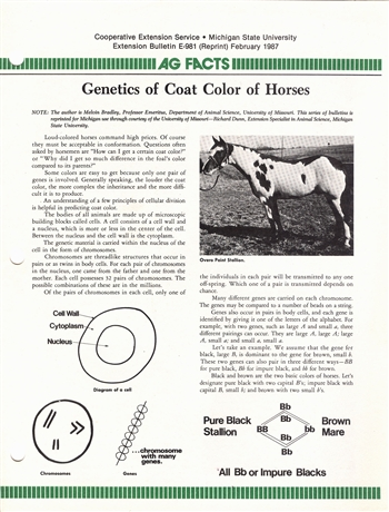 Genetics of Coat Color of Horses (E0981)