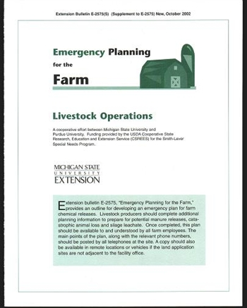 Emergency Planning for the Farm: Livestock Operations (E2575s)