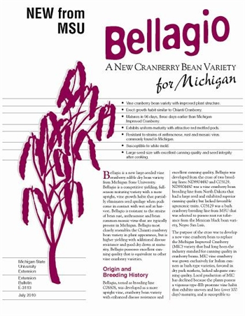 Bellagio - A New Cranberry Bean Variety for Michigan (E3113)