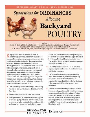 Suggestions For Ordinances Allowing Backyard Poultry (E3136)