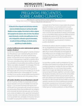 Frequently Asked Questions about Climate Change - Spanish (E3150SP)