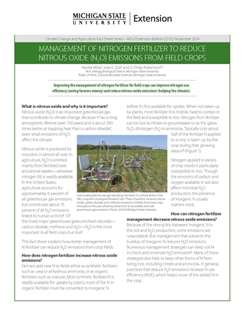 Management of Nitrogen Fertilizer to Reduce Nitrous Oxide Emissions from Field Crops (E3152)