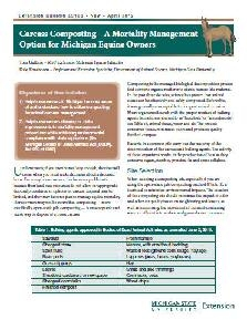 Carcass Composting-A Mortality Management Option Michigan Equine Owners (E3168)