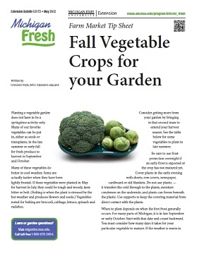 Michigan Fresh: Fall Vegetable Crops for your Garden (E3172)