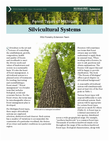 Forest Types of Michigan: Silvicultural Systems (E3202-13)