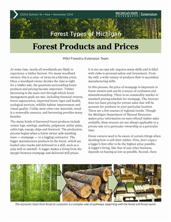 Forest Types of Michigan: Forest Products and Prices (E3202-16)