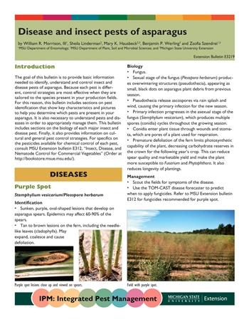 Disease and Insect Pests of Asparagus (E3219)