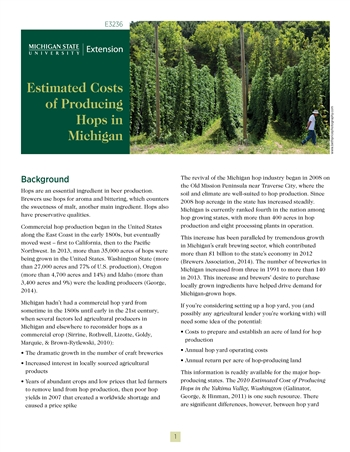 Estimated Costs of Producing Hops in Michigan (E3236)