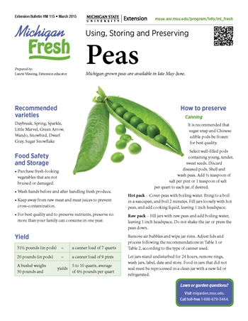 Michigan Fresh: Using, Storing, and Preserving Peas (HNI115)