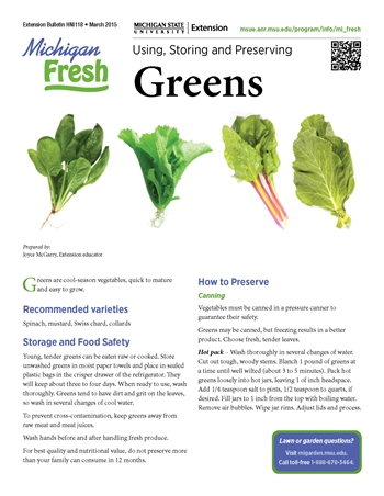 Michigan Fresh: Using, Storing, and Preserving Greens (HNI118)