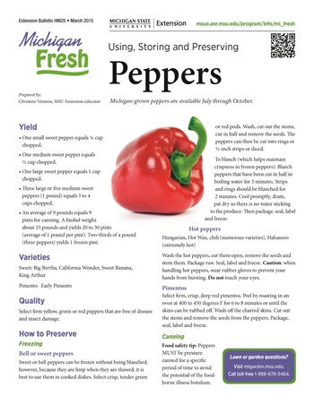Michigan Fresh: Using, Storing, and Preserving Peppers (HNI25)