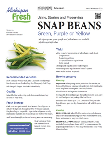 Michigan Fresh: Using, Storing, and Preserving Snap Beans (HNI27)