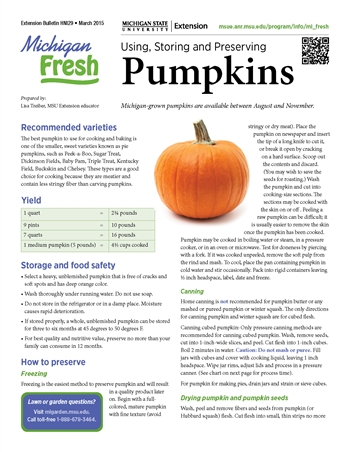 Michigan Fresh: Using, Storing, and Preserving Pumpkins (HNI29)