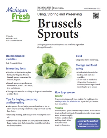 Michigan Fresh: Using, Storing, and Preserving Brussels Sprouts (HNI53)