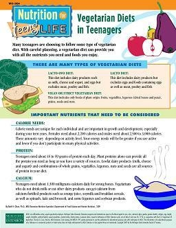 Nutrition for Teens' Life: Vegetarian Diets in Teenagers (WO1004)