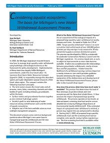 Considering Aquatic Ecosystems: The Basis for Michigan's New Water (WQ60)