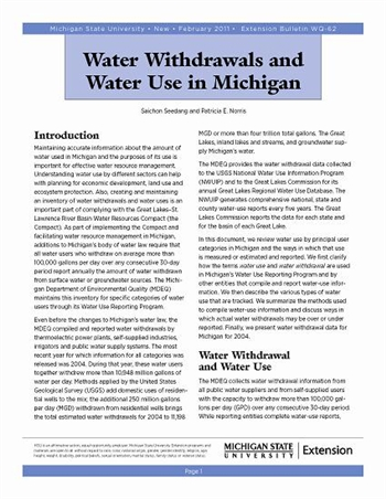 Water Withdrawals and Water Use in Michigan (WQ62)