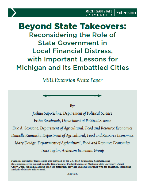 Beyond State Takeovers: Reconsidering the Role of State Government in Local Financial Distress ...