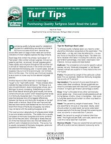 Purchasing Quality Turfgrass Seed: Read the Label (E0014TURF)