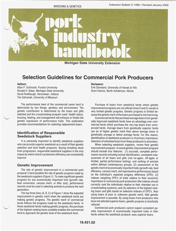Selection Guidelines for Commercial Pork Producers (E1086)