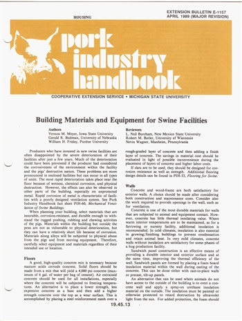 Building Materials and Equipment for Swine Facilities (E1157)
