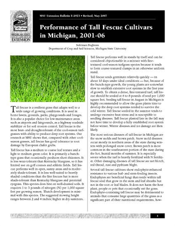 Performance of Tall Fescue Turfgrass Cultivars in Michigan: 2001-2006 (E2923)