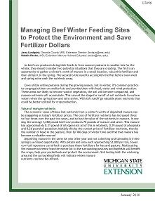 Managing Beef Winter Feeding Sites to Protect Environment and Save Fertilizer Dollars (E3098)