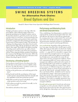 Swine Breeding Systems for Alternative Pork Chains: Breed Options & Use (E3108)