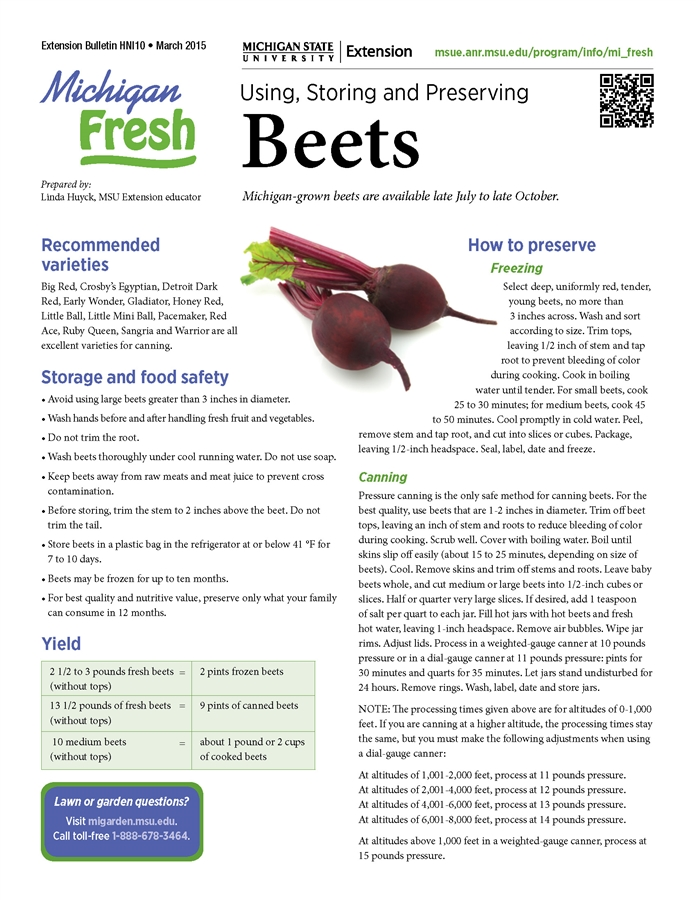 Michigan Fresh: Using, Storing, and Preserving Beets (HNI10)