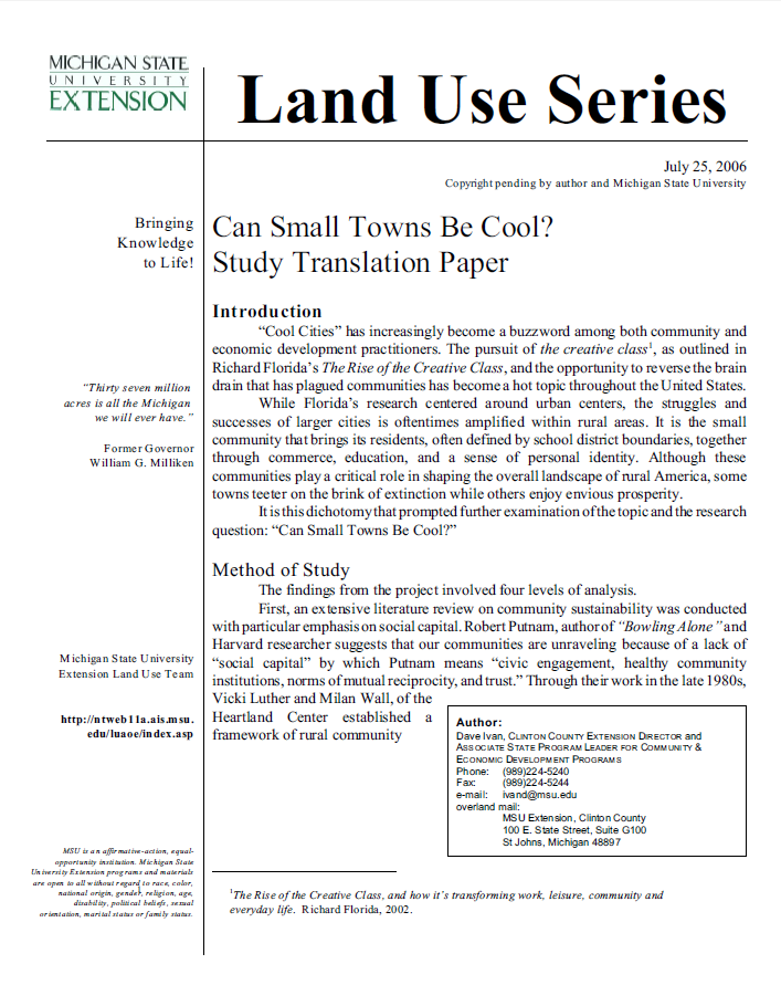 Can Small Towns Be Cool? Study Translation Paper.