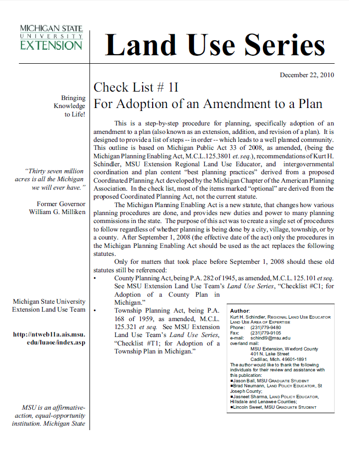 Check List #1I: Adoption of a Plan Amendment