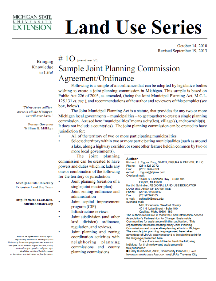 Check List #1O: Sample Joint Planning Commission Agreement/Ordinance.
