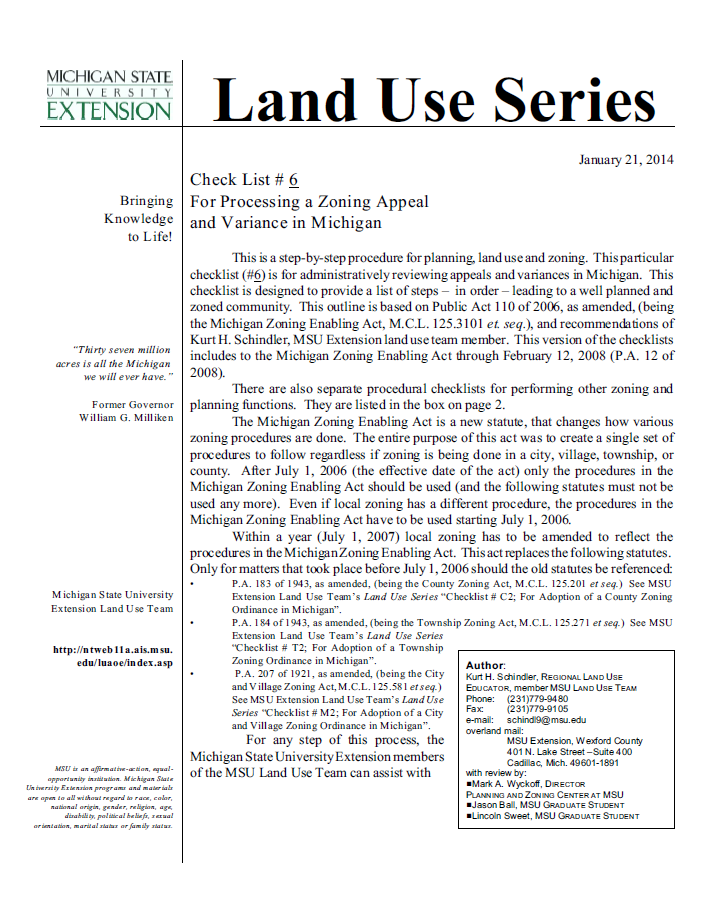 Check List #6 For Processing a Zoning Appeal and Variance in Michigan