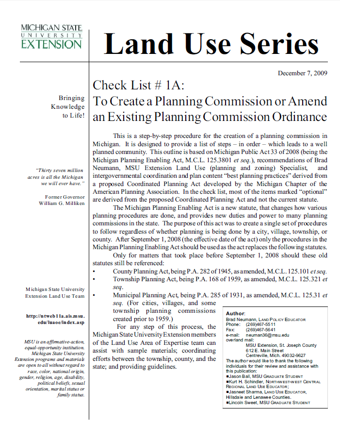 Check List #1A: Create a Planning Commission