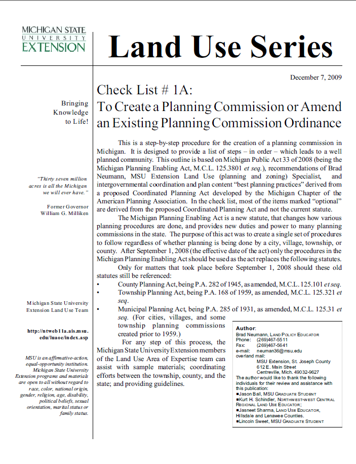 Check List #1B: Sample Planning Commission Ordinance