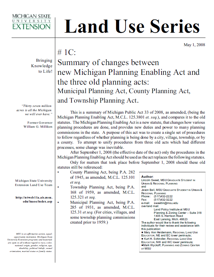 Check List #1C: Summary of changes between old Planning Acts and Michigan Planning Enabling Act