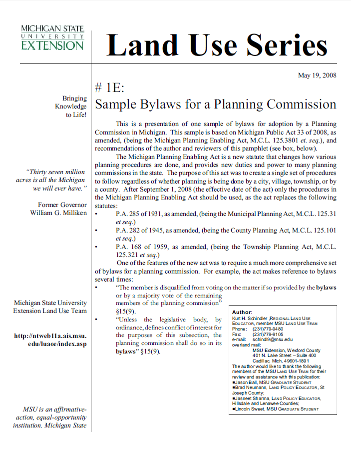 Check List #1E: Sample bylaws for a planning commission