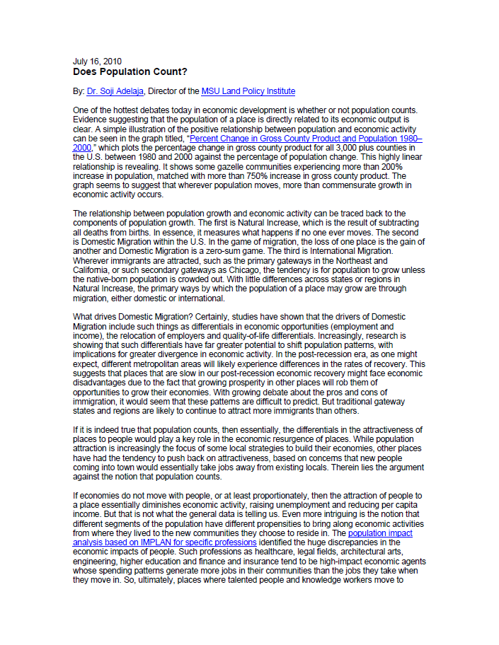 Does Population Count